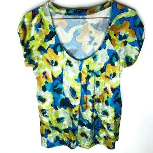 THEORY Silk Watercolor Floral Cap Sleeve Women